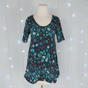 LuLaRoe Floral Geometric Perfect T Shirt